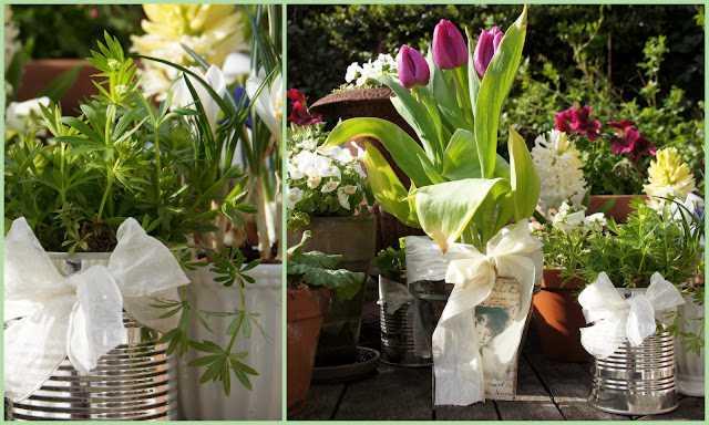 Blechdosen mit Blumen