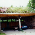 Carport aus alten Baumaterialien mit Grndach