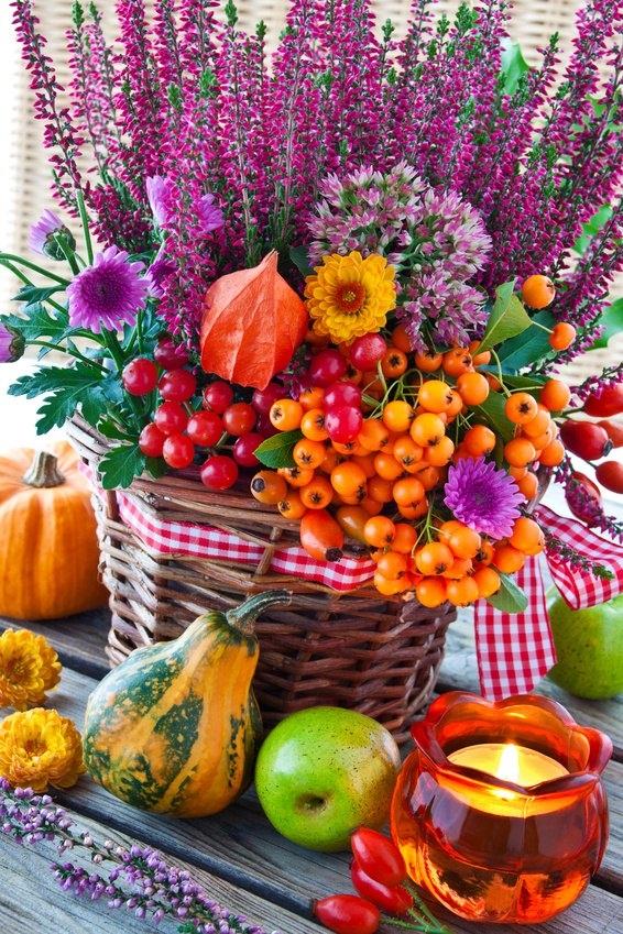 Herbstdekorationen mit Materialien aus der Nat
