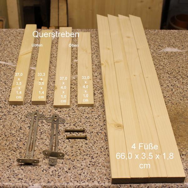 Zuschnittteile für das Untergestell