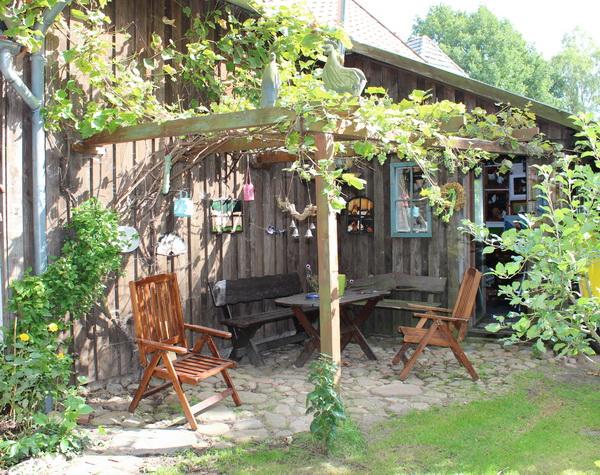 Im Garten die Weinlaube
