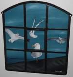 Möwen im Eisenfenster