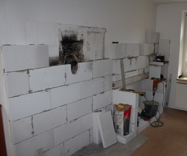 Wand für den Kaminofen