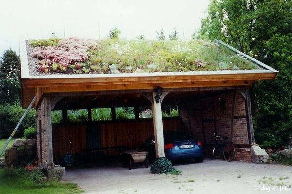 Carport aus alten Baumaterialien mit Gründach