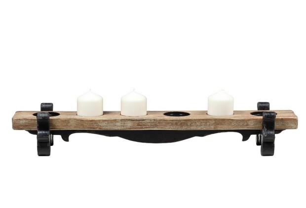 Kerzenständer aus Holz und Metall