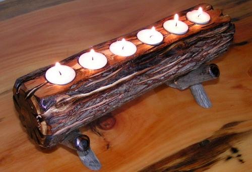 Holzkerzenständer 2