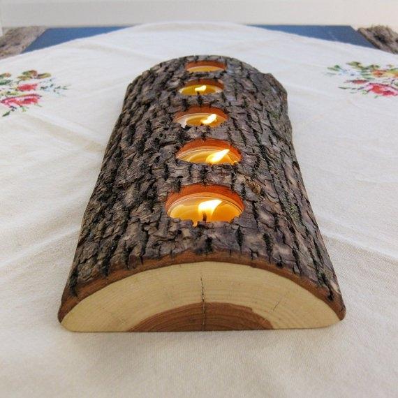 Kerzenständer aus Baumstück