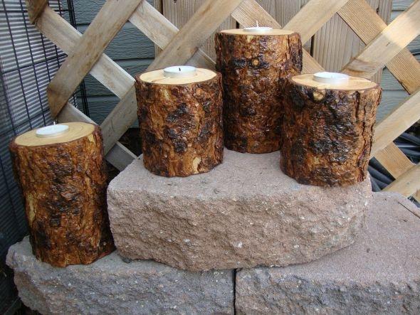 Kerzenständer aus Baumstücken