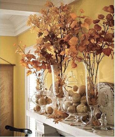 Herbstdeko in Stielgläsern