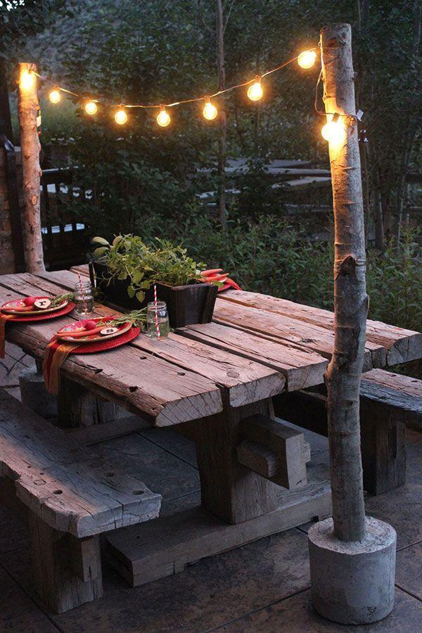 Rustikale Tischbeleuchtung mit Betonfüßen