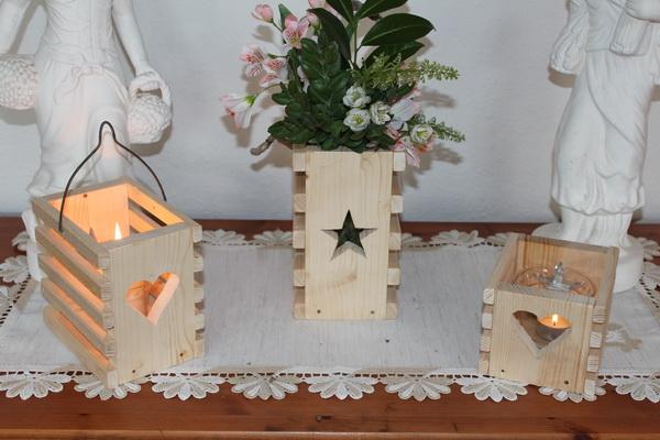 Windlicht - Holzkorb