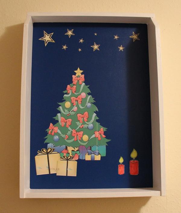 Weihnachtliches Schubladen-Regal