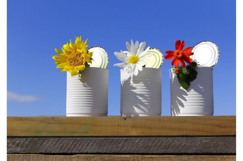 Dosen mit Blüten